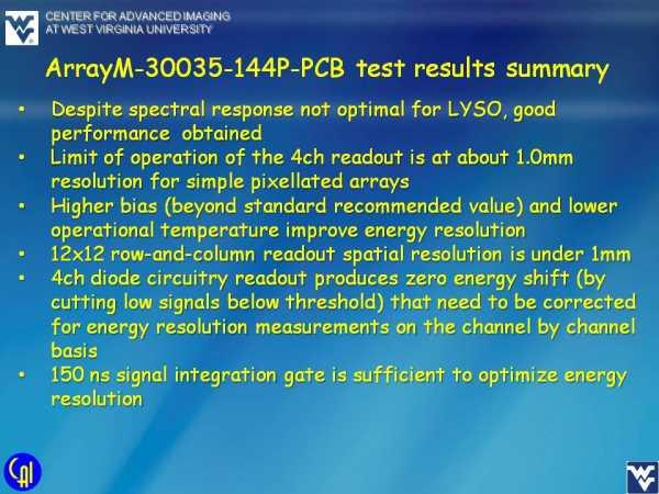 ArrayM-30035-144P-PCB 4ch Readout Studies Slide 10
